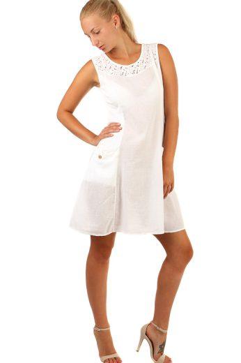 Glara Krátké letní šaty s výraznými kapsami a krajkou 234328