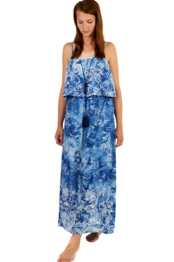 Glara Modré batikované maxi šaty s potiskem 237646