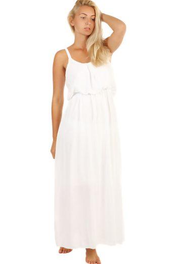 Glara Jednobarevné maxi šaty s krajkovými ramínky 247130