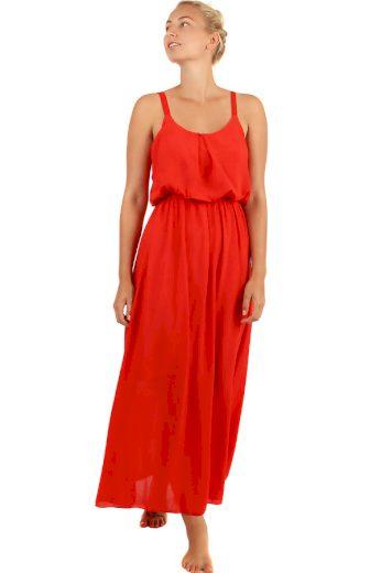 Glara Jednobarevné maxi šaty s krajkovými ramínky 247132