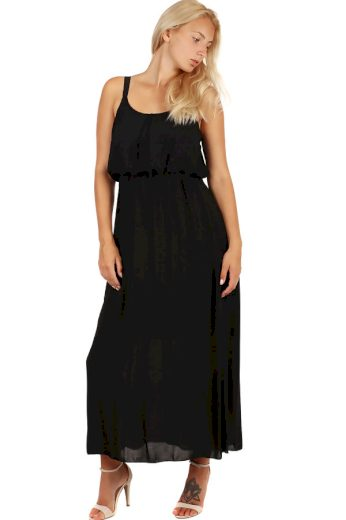 Glara Jednobarevné maxi šaty s krajkovými ramínky 247137