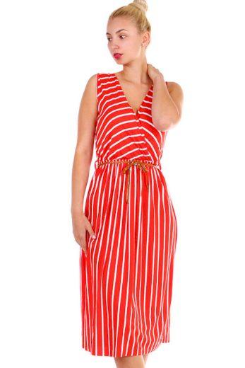 Glara Dámské pruhované šaty s páskem - zeštíhlující efek 330203