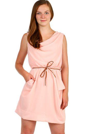 Glara Krátké dámské jednobarevné šaty s kapsami 339541
