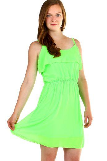 Glara Dámské krátké šifonové šaty s volánky 340908