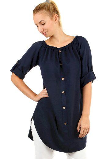 Glara Dámské volné košilové šaty s 3/4 rukávem 386561