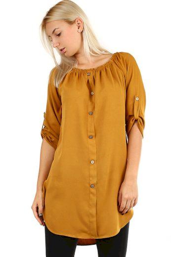 Glara Dámské volné košilové šaty s 3/4 rukávem 386562