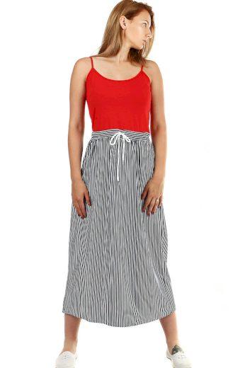 Glara Dámské dlouhé šaty s proužkami 460222