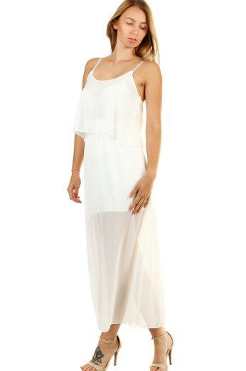 Glara Dlouhé volné šifonové šaty na úzká ramínka 476145