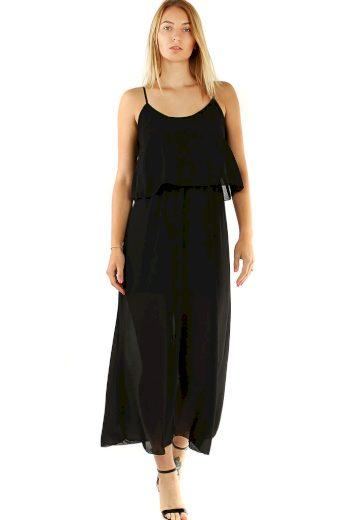 Glara Dlouhé volné šifonové šaty na úzká ramínka 476147