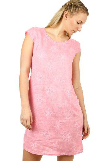 Glara Lněné dámské šaty s výšivkou a kapsami vhodné i pro plnoštíhlé 553921