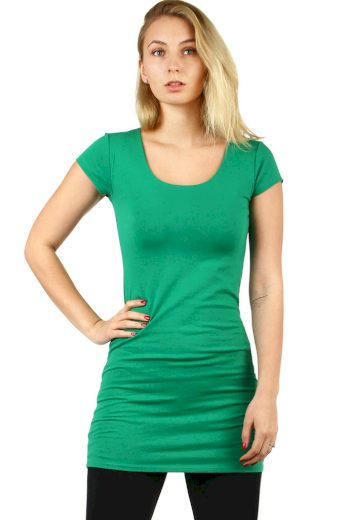 Glara Dlouhé jednobarevné tričko s krátkým rukávem 523904