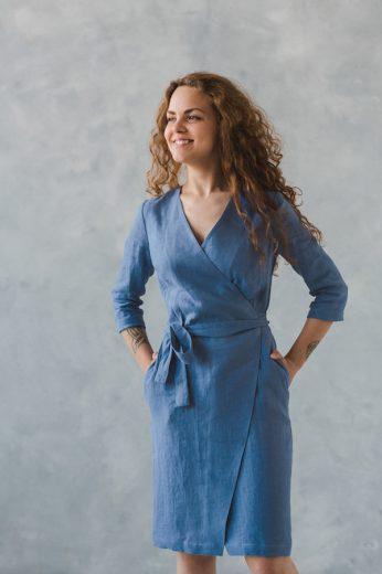 Glara Lněné zavinovací šaty excellent quality 532866