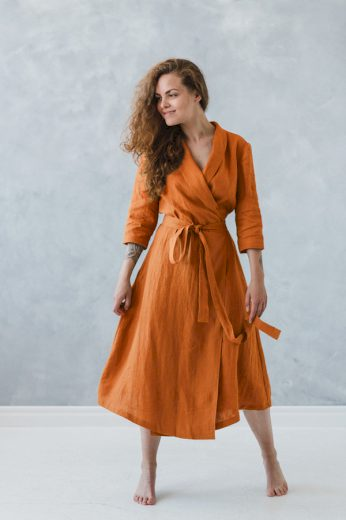 Glara Lněné zavinovací maxi šaty excellent quality 532958