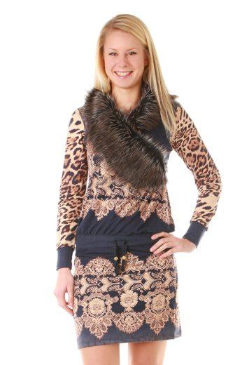 Glara Úpletové zimní šaty s kožíškem a dlouhými rukávy 23749