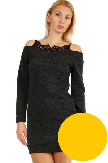 Glara Úpletové mini šaty s krajkou ve výstřihu 404228