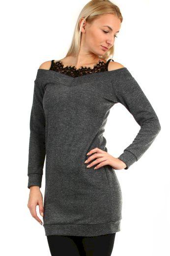 Glara Úpletové mini šaty s krajkou ve výstřihu 404230