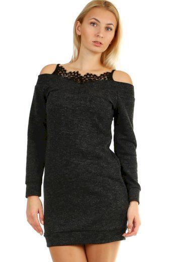 Glara Úpletové mini šaty s krajkou ve výstřihu 404231