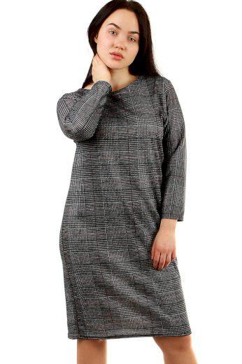 Glara Společenské kostkované šaty s rukávem 431936