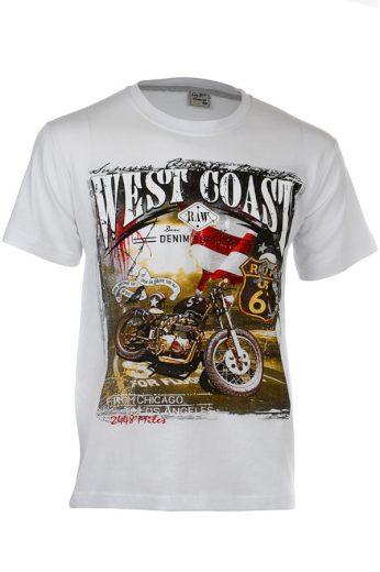 Glara Pánské bavlněné tričko s krátkým rukávem a potiskem motorky 110709