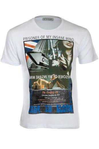Glara Bavlněné pánské tričko s krátkým rukávem a potiskem 119212