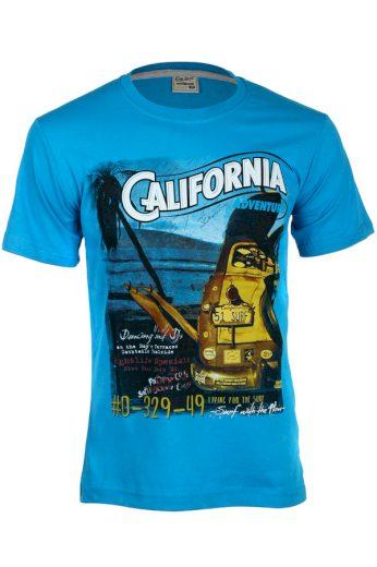 Glara Bavlněné pánské tričko s krátkým rukávem a nápisem California 119391