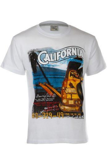Glara Bavlněné pánské tričko s krátkým rukávem a nápisem California 119396