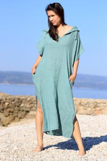 Glara Dámské dlouhé oversized lněné šaty 548696
