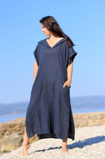 Glara Dámské dlouhé oversized lněné šaty 628763