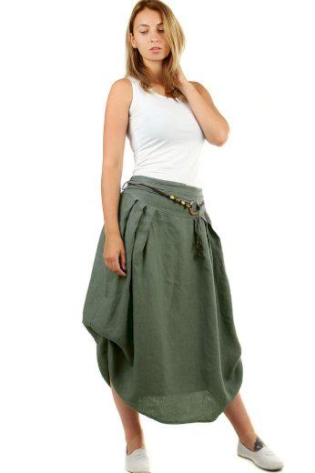 Glara Dámská dlouhá balonová sukně lněná 550691