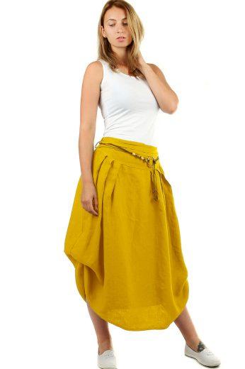 Glara Dámská dlouhá balonová sukně lněná 550699