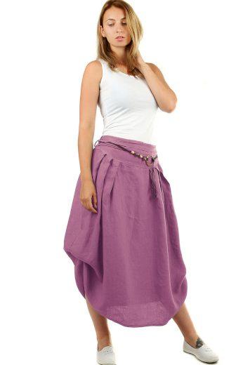 Glara Dámská dlouhá balonová sukně lněná 550719