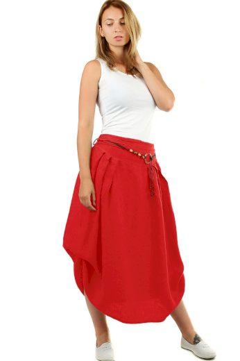 Glara Dámská dlouhá balonová sukně lněná 550720