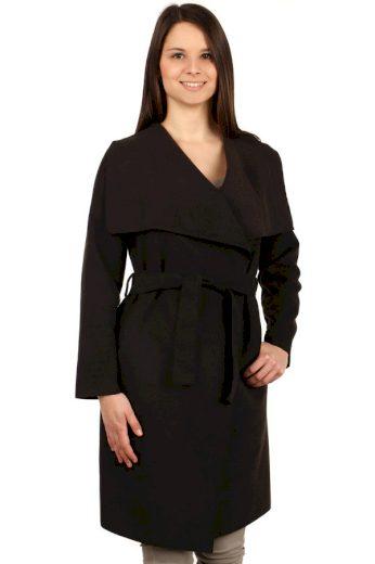 Glara Dámský kabát s páskem a výrazným límcem 126498