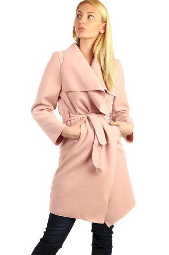 Glara Dámský kabát s páskem a výrazným límcem 395752