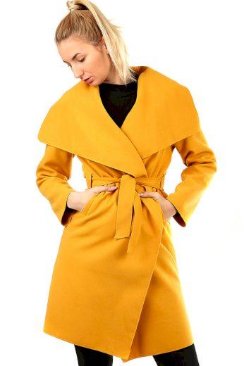 Glara Dámský kabát s páskem a výrazným límcem 492314