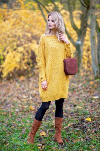 Glara Dámské vlněné šaty na zimu 573149