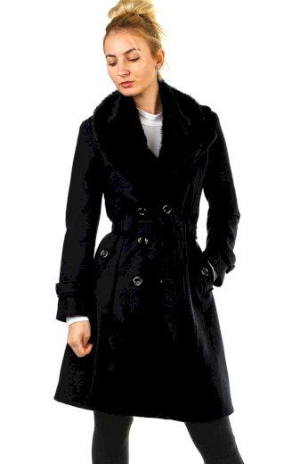 Glara Flaušový kabát s kožešinovým límcem 581951