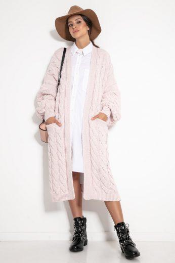 Glara Svetrový midi kabátek s vlnou 582815
