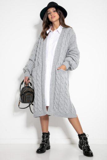 Glara Svetrový midi kabátek s vlnou 582817