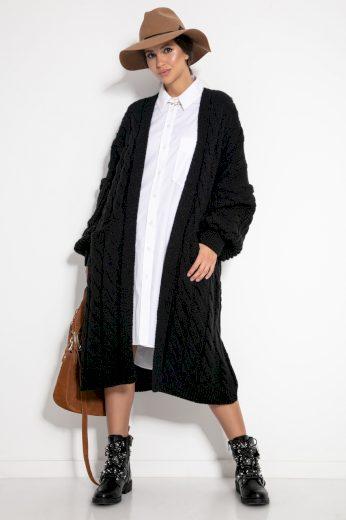 Glara Svetrový midi kabátek s vlnou 582819