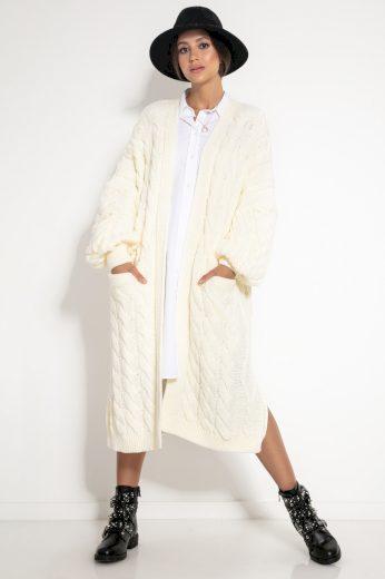Glara Svetrový midi kabátek s vlnou 582820