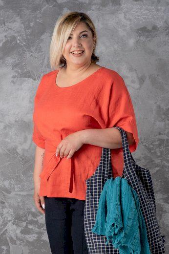 Glara Lněná dámská tunika s páskem 596228