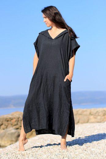 Glara Dámské dlouhé oversized lněné šaty 628764