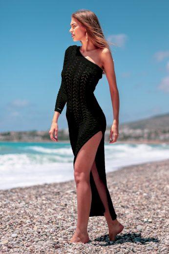 Glara Letní pletené šaty s odhaleným ramenem 658974