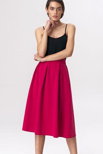 Glara Dámská midi sukně se sklady 557317