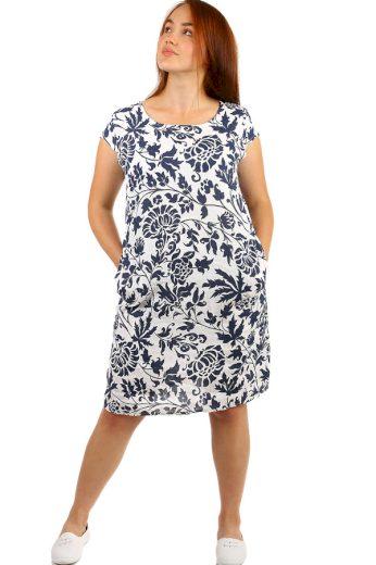 Glara Lněné dámské vzorované šaty s kapsami pro plnoštíhlé 249760