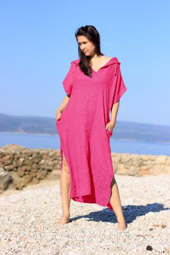 Glara Dámské dlouhé oversized lněné šaty 668797