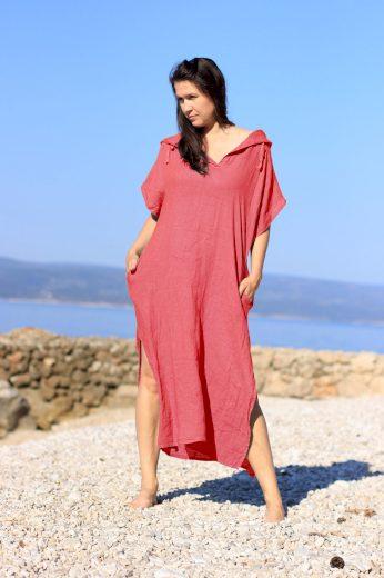 Glara Dámské dlouhé oversized lněné šaty 686963