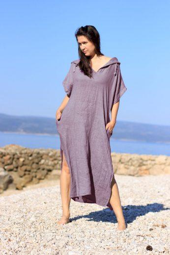 Glara Dámské dlouhé oversized lněné šaty 686780