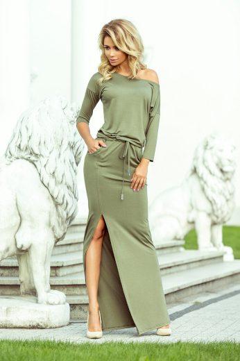Glara Dámské dlouhé šaty s rozparkem 688722